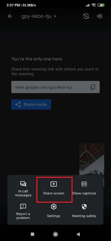 cara share screen google meet